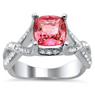 Noori 18k White Gold 2.05ct TDW Certified Cushion Cut Diamond and Pink Sapphire Ring