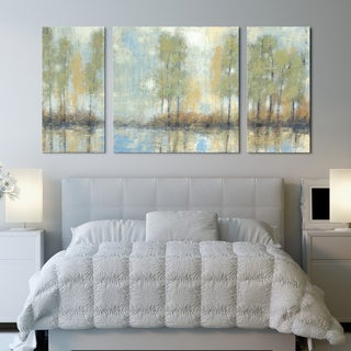 Studio 212 'Through the Mist' 30x60-inch Textured Canvas Triptych Art Print