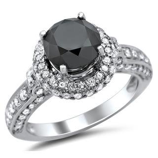 Noori 14k White Gold 2 5/8ct TDW Certified Black and White Round Diamond Halo Ring (G-H, SI1-SI2)