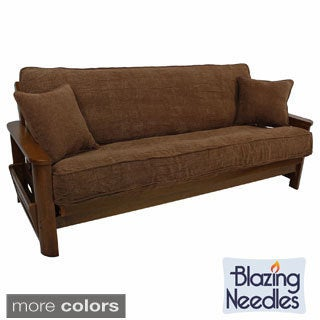 Blazing Needles Solid Chenille Double-corded Futon Cover Set with Two Throw Pillows