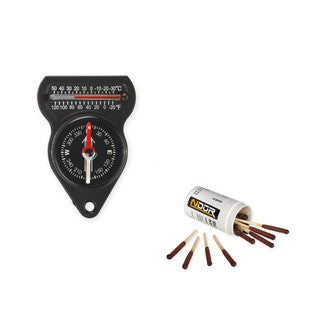 NDuR Mini Compass with Thermometer and Survival Matches