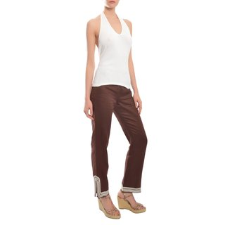 Escada Women's Chocolate Linen Braided Detail Pants