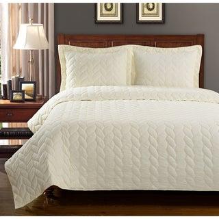 Ashley Braided Cotton 3-piece Quilt Set