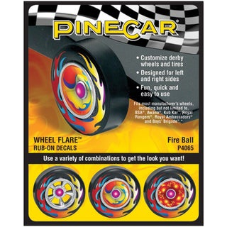 Pine Car Derby Wheel Flare Rub-On Decals-Fire Ball