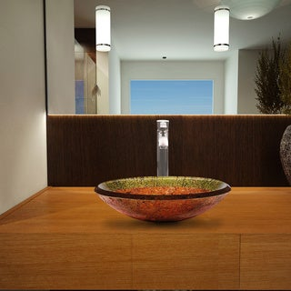 Vigo Janus Green/ Copper Glass Vessel Sink and Otis Brushed Nickel Faucet Set
