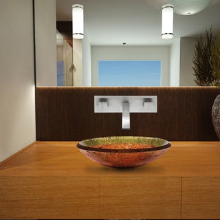 Vigo Janus Copper/ Green Glass Vessel Sink and Titus Brushed Nickel Wall-mount Faucet Set