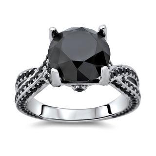 Noori 14k Gold 5 3/8ct TDW Certified Round Black Diamond Ring
