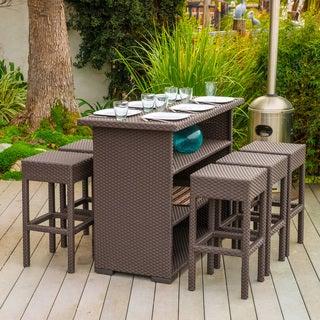 Christopher Knight Home Milton Outdoor 7-piece Brown Wicker Bar Set