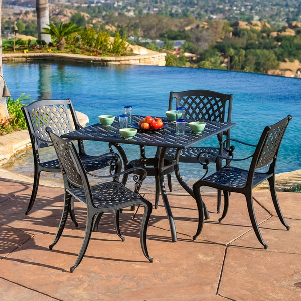 Christopher Knight Home Hallandale 5-piece Cast Aluminum Black Sand Outdoor Dining Set