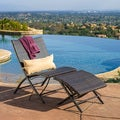 Lionel Outdoor Wicker Lounge Chair and Ottoman Set with Pillow