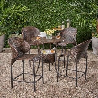Christopher Knight Home Multibrown Wicker Outdoor Bistro Bar Set with Ice Pail