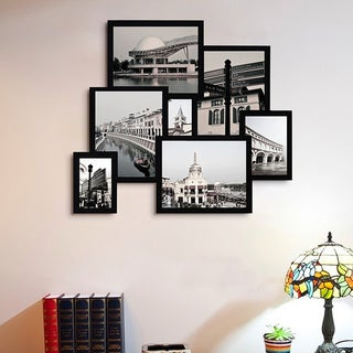 Adeco 7-opening Black 3D Collage Picture Frame