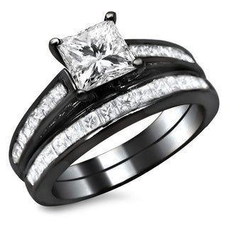 Noori 14k Black Gold 1 3/4ct TDW Princess Cut Diamond Bridal Set (G-H, SI1-SI2)