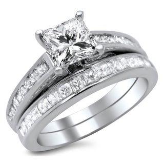 Noori 14k White Gold 1 3/4ct Enhanced Princess Cut Diamond Bridal Ring Set (G-H, SI1-SI2)