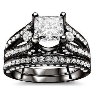 Noori 18k Black Gold 3 1/10ct Certified Princess Enhanced Diamond Bridal Set (G-H, SI1-SI2)
