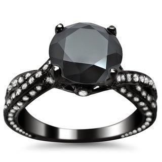 Noori 14k Black Gold 2 4/5ct TDW Black Round Diamond Criss Cross Engagement Ring