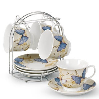Butterfly Porcelain 9-piece Coffee/ Tea Set on Metal Stand