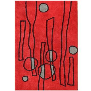 Handmade Alliyah Fiery Red Abstract New Zealand Blend Wool Rug (8' x 10')