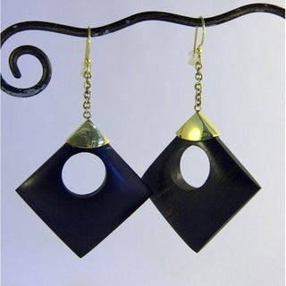 Hand-crafted 'Circle in a Square' Dangle Earrings (Indonesia)