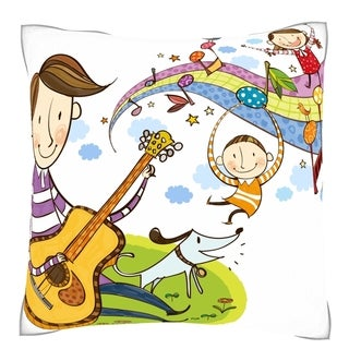 Father Playing Violin with Children 18-inch Velour Throw Pillow