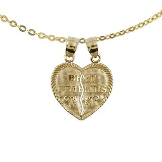 "10k Yellow Gold Breakable ""Best Friends"" Heart Charm Necklace with 10k Gold Chain"