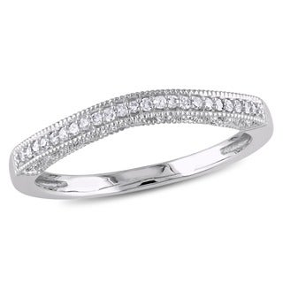 Haylee Jewels 10k White Gold Diamond Curved Wedding Band