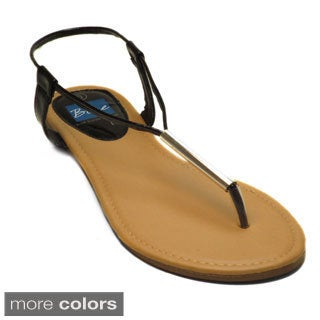 Blue Women's 'Applet' Metallic T-strap Flat Sandals