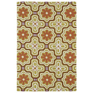 Handmade Luau Gold Tile Indoor/ Outdoor Rug (8'6 x 11'6)