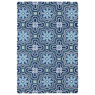 Indoor/ Outdoor Luau Blue Tile Rug (8'6 x 11'6)
