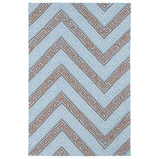 Indoor/ Outdoor Luau Light Blue Chevron Rug (8'6 x 11'6)