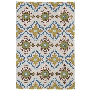 Indoor/ Outdoor Fiesta Tiles Ivory Rug (9' x 12')