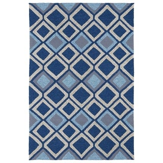 Indoor/ Outdoor Fiesta Moroccan Blue Rug (9' x 12')