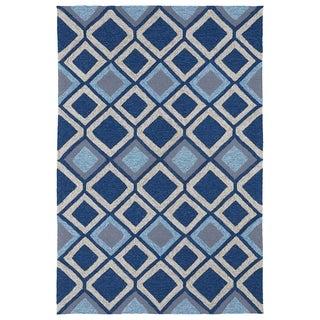 Indoor/ Outdoor Fiesta Moroccan Blue Rug (9' x 12')