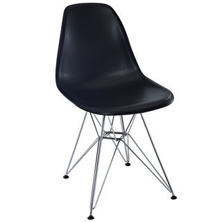 Paris Plastic Black with Chrome Wire Base Side Chair