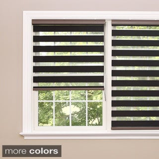 Lights Out Premium Charcoal Wood Look Duo Roller Window Shade