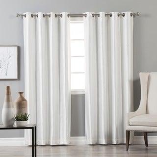 Grommet-top Blackout Faux Silk Curtain Panel Pair