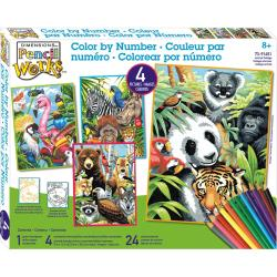 Pencil Works Color By Number Kit 9 X12 4/Pkg - Animal Collage