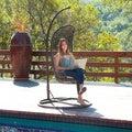 Brown Wicker Outdoor Swinging Chair