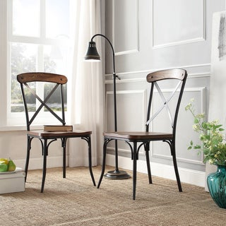INSPIRE Q Nelson Industrial Modern Rustic Cross Back Dining Chair (Set of 2)