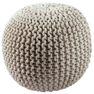 Cotton Rope 16-inch Off-white Pouf Ottoman