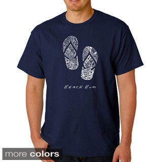 Los Angeles Pop Art Men's 'Flip Flop Beach Bum' T-shirt