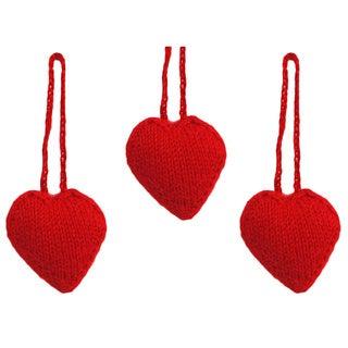 Set of 3 Hand-knit Alpaca Wool Heart Ornaments (Peru)