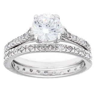 Simon Frank 2ct TGW Silvertone Solitare Bridal Inspired Ring Set