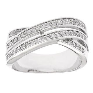 Simon Frank 'Beautiful Light' Rhodium 3-row Bypass CZ Ring