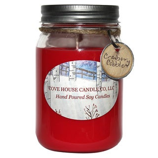Fruity Scented Red 16-ounce Canning Jar Soy Candle