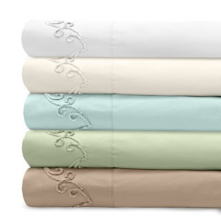 Grand Luxe 300 Thread Count Egyptian Cotton Deep Pocket Sheet Set with Chenille Embroidered Scroll Design