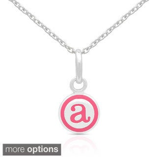 Molly and Emma Sterling Silver Pink Enamel Initial Necklaces