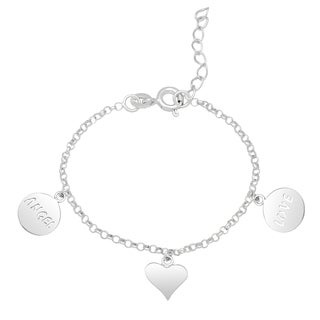 Molly and Emma Sterling Silver Dog Tag and Heart Charm Bracelet