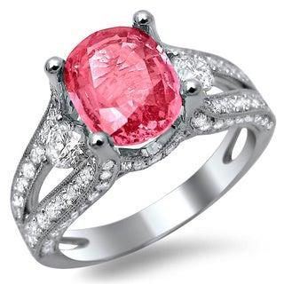 Noori 18k White Gold 2 4/5ct TDW Diamond and Pink Sapphire Engagement Ring