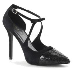 Women's Pleaser Amuse 38SN Heel Black Snake/Suede